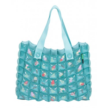 INFLATABLE TOTE BAG ICE BLUE